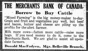 Ad for Merchants Bank of Canada