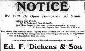 Ad for Dickens & Son