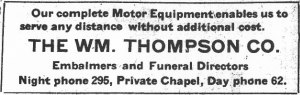 Ad for Thompson Funeral Directors