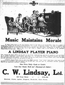 Ad for Lindsay Player Pianos