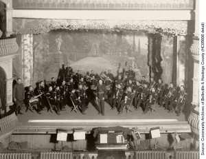 15th Battalion Regimental Band on stage at the Griffin Opera House ca. 1920  (HC05606)