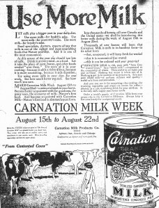 Advert for Carnation Milk