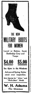 Advertisement for W H  Adams Boots, Intelligencer, April 3, 1915