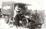 Drivers maintain an ambulance, Duchess of Connaught Hospital, c.1915