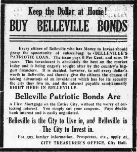 Ad for Belleville Bonds