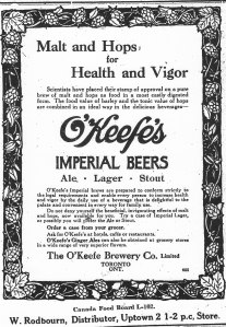 Advert for O'Keefe's Imperial Beers