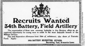 Recruits Wanted 34th Battery