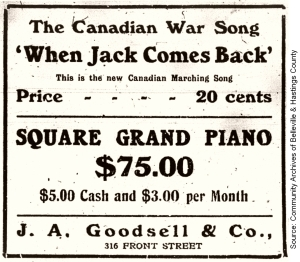 Canadian War Song ad