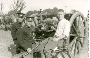 34th Battery gun with Gunners Yerex, Doxsee and Harris, ca. August 1914