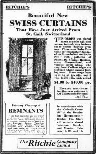 Ad for Ritchieès curtains