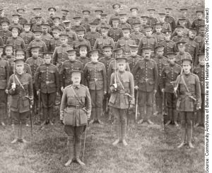 Soldiers of the 39th Battalion in Belleville prior to going overseas in the summer of 1915
