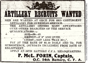 Artillery Recruits Wanted