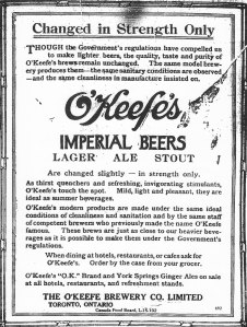 Ad for O'Keefe beer