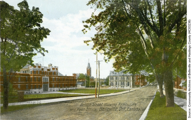 Postcard ca. 1912 showing a view of Bridge Street East, Belleville, with the Armouries, City Hall, and Post Office. The Armoury building was a major enlistment centre for volunteers.