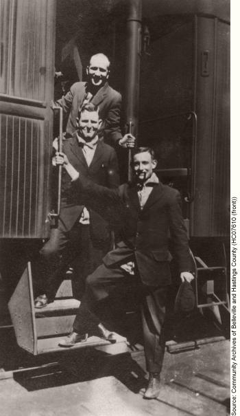 Bill Holland at bottom and Arthur Burton in middle, ca. September 1915