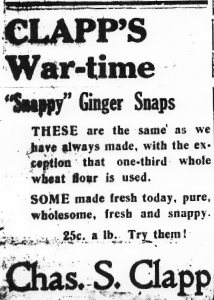 Ad for Clapp's Ginger Snaps